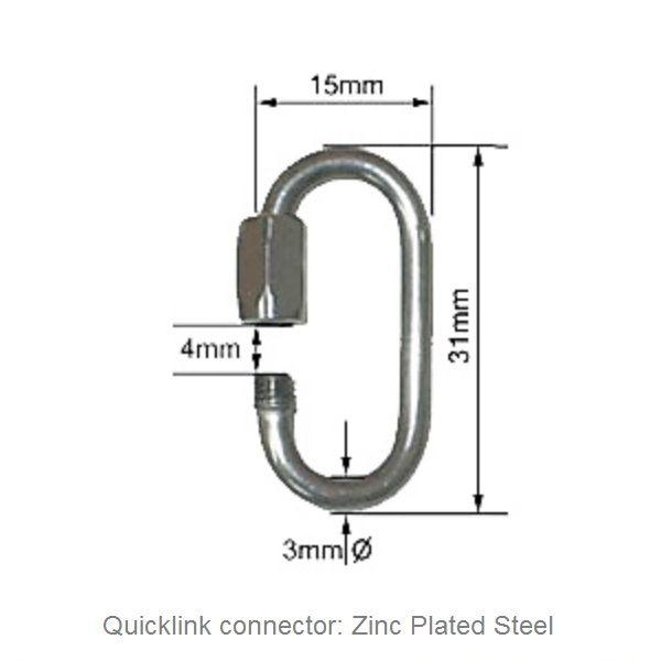 PRACTICE POI HARDWARE: Quicklinks - ZINC Plated Steel 3mm Ovals - $1.50ea - Great for Practice Poi, LED Glow Poi or Non-Fire Rope Dart heads - NOT FOR FIRE - Fyregear AUSTRALIA www.fyregear.com