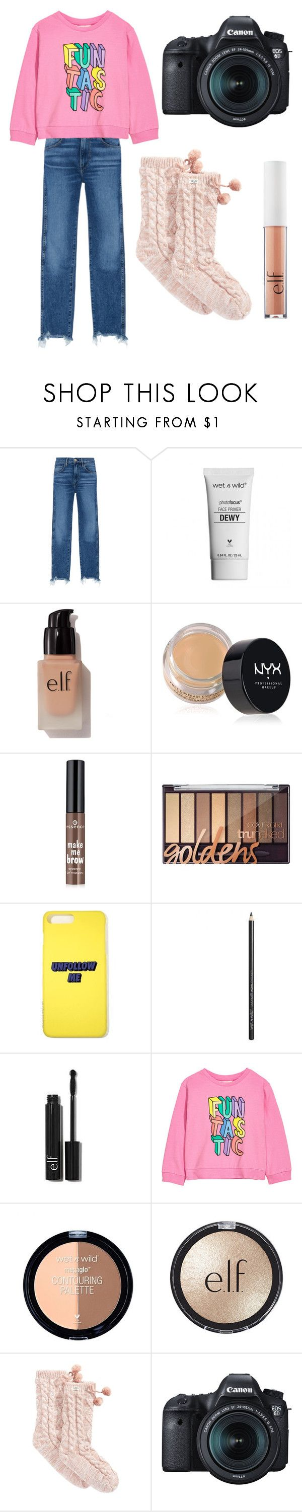 """""""'$30 Five Minute Makeup Challenge with Niki and Gabi' Video"""" by princess-sugar ❤ liked on Polyvore featuring 3x1, e.l.f., NYX, Forever 21, UGG and Eos"""