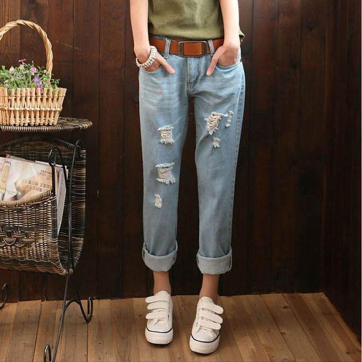14.92$  Buy here - http://alilor.shopchina.info/go.php?t=32759601702 - New 2016 European fashion wash old joker hole cowboy haroun pants women jeans Plus Size YEU  #magazineonlinewebsite