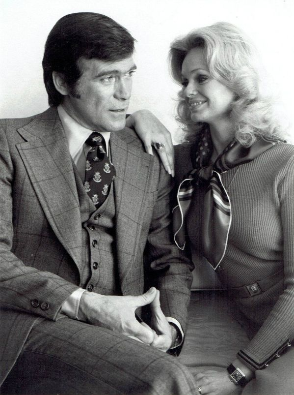 """Lynda and husband, actor Chris George, on the set of the TV show """"McCloud"""", mid 1970's. Click on image for full view."""