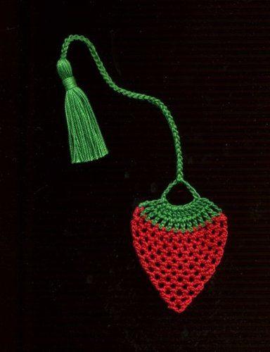 Handmade Crocheted Bookmark Strawberry fruit