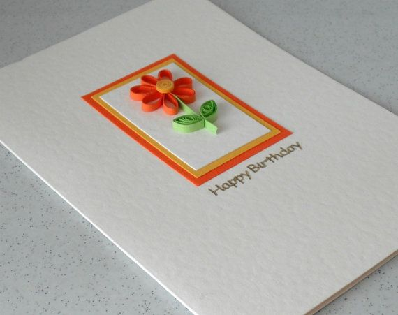 Quilled birthday card paper daisy quilled by PaperDaisyCardDesign, £5.20