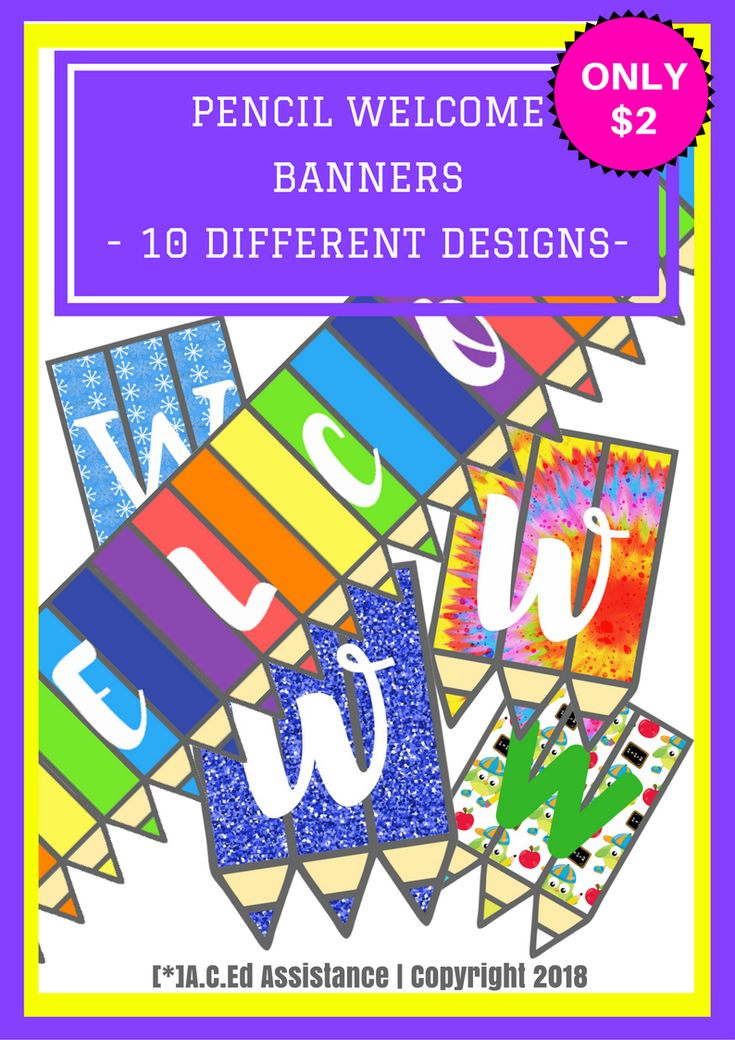 Ten 'back to school' pencil WELCOME banners for your classroom.In this ZIP file you will receive:- x1 Multicoloured banner- x1 Snowflakes banner- x2 Starburst banners- x2 Glitter banners- x1 School owl...