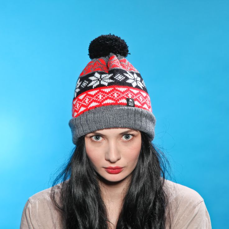 Grey Snowflake Bobble Hat by Wonky Woolies!