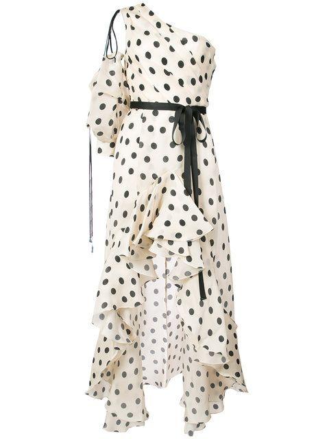 4286d72d366 Johanna Ortiz расклешенное платье в горох с оборками