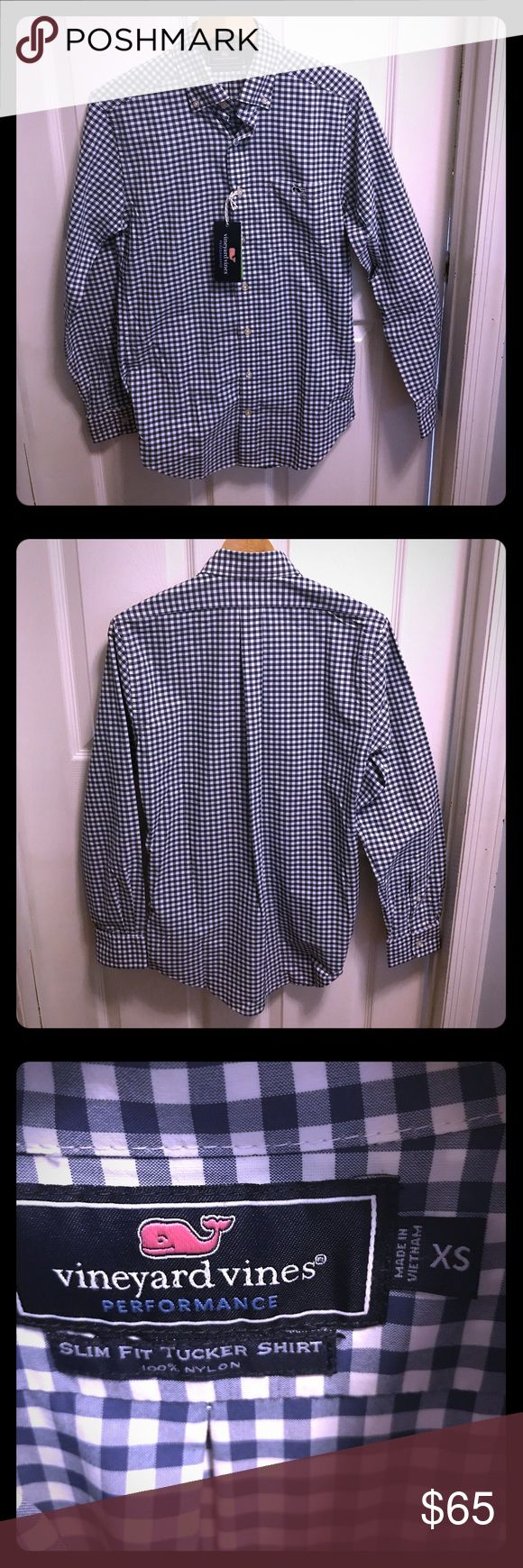 Selling this NWT Vineyard Vines shirt, XS, checkered blue on Poshmark! My username is: itsmebg. #shopmycloset #poshmark #fashion #shopping #style #forsale #Vineyard Vines #Other