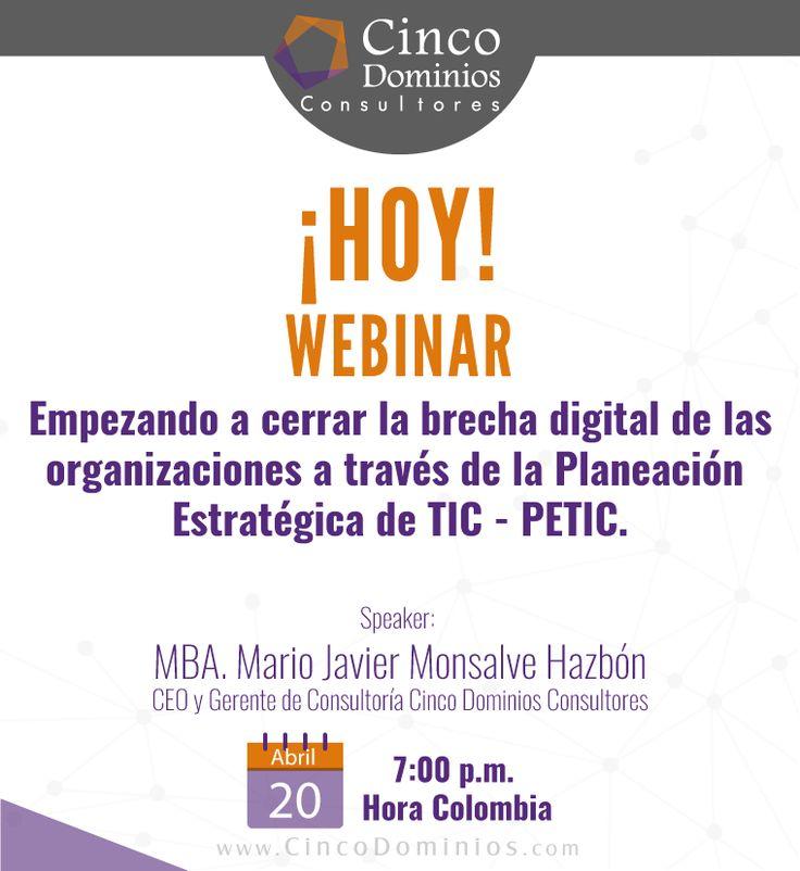 ¡Hoy! participe del Webinar. ¡Regístrese! http://goo.gl/YUjRnn Somos sus aliados en la Optimización de la Cadena de Valor de TIC. Contaremos con la participación de nuestro CEO & Gerente de Consultoría, MBA. Mario Javier Monsalve Hazbón. #Webinar #TIC #PETIC #TIC #TI #EventoOnLine #EventoEnLínea