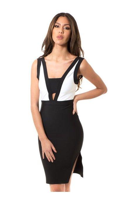 Classique, sexy et tendance, cette robe blanche et noire est parfaite pour vos toutes vos soirées les plus glamour!