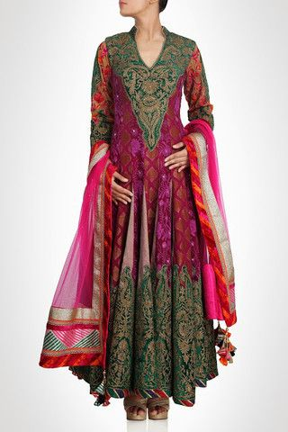 Pink and green color frock suit available online – Panache Haute Couture http://panachehautecouture.co.in/products/pink-and-green-color-frock-suit-available-online