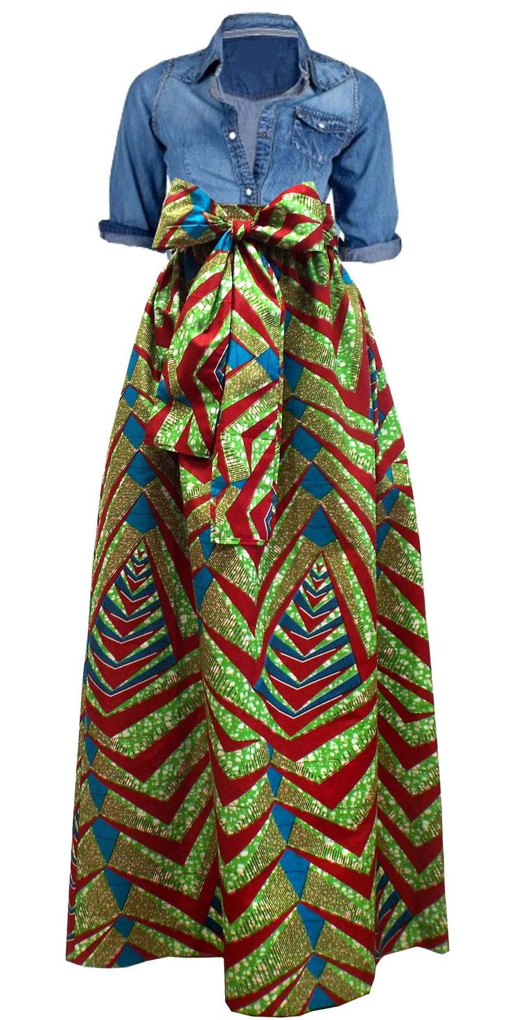 African Print Maxi skirt with pockets and sash paired with jean top ~African fashion, Ankara, kitenge, African women dresses, African prints, African men's fashion, Nigerian style, Ghanaian fashion ~DKK