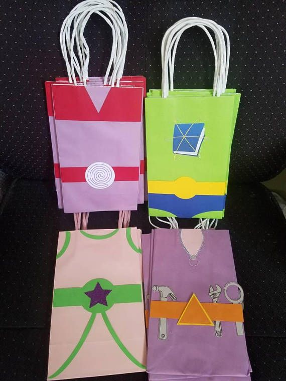 Super Why goodie bags Favor bags Treat bags Loot bags Gift bags Set of 10