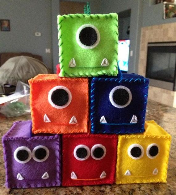 Monster Baby Blocks Set of 6 You choose colors by ThreeWeeMonkeys, $16.00