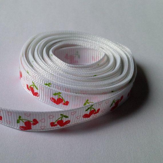 Grosgrain Ribbon White Cherry Heart Design  3/8 by TradingExchange, $2.50