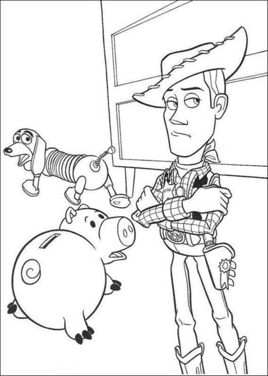 Hamm Woody Sheriff And Slinky Dog Toy Story Coloring Pages