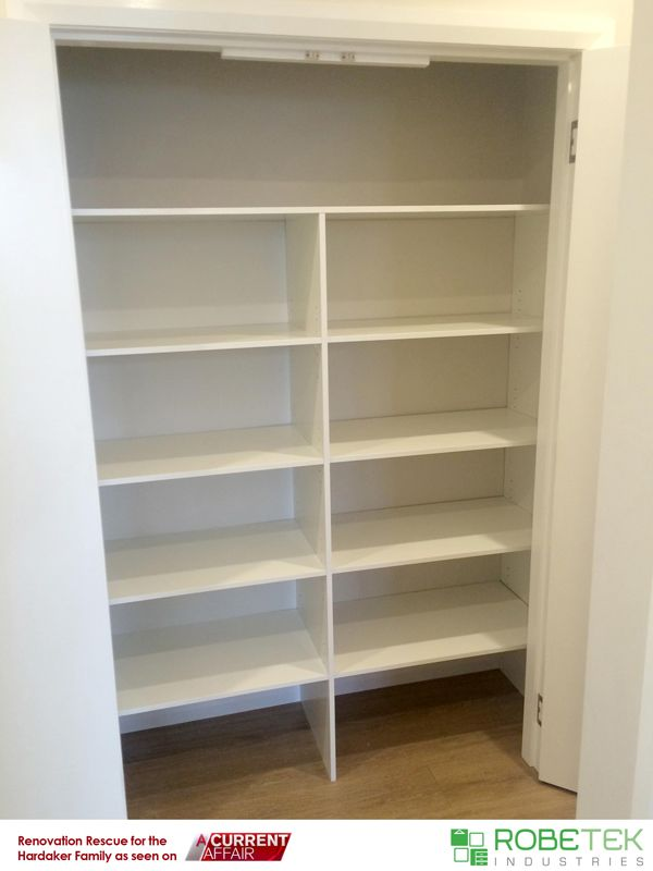 HARDAKER FAMILY'S NEW LINEN CUPBOARD DONATED BY ROBETEK INDUSTRIES. . Renovation Rescue for the Hardaker family as seen on A Current Affair. Call 02 9608 8899 for FREE MEASURE & QUOTE (Sydney metro area)