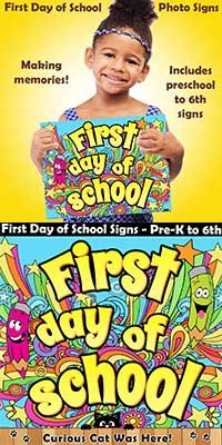 Create happy memories of their first day of school.  Colorful photo signs to commemorate the #firstdayofschool