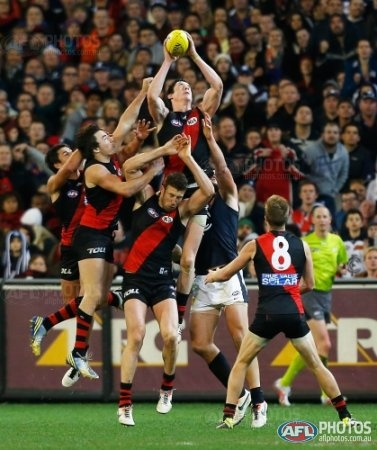 Jake Carlisle flies high to mark during the 2013 AFL Round 11 match between the Essendon Bombers and the Carlton Blues at the MCG, Melbourne on June 07, 2013. (Photo: Andrew White/AFL Media)