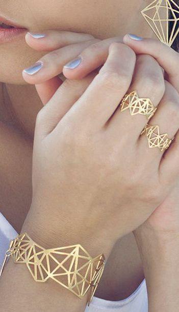 Geometric Diamond Bracelet, Architectural jewelry                                                                                                                                                                                 More