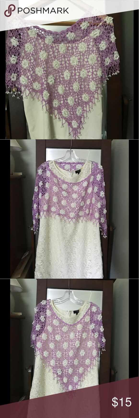 Crocheted poncho Lavender and cream poncho with beading.  Great to dress up a simple dress or throw over a cami for a night out. Other