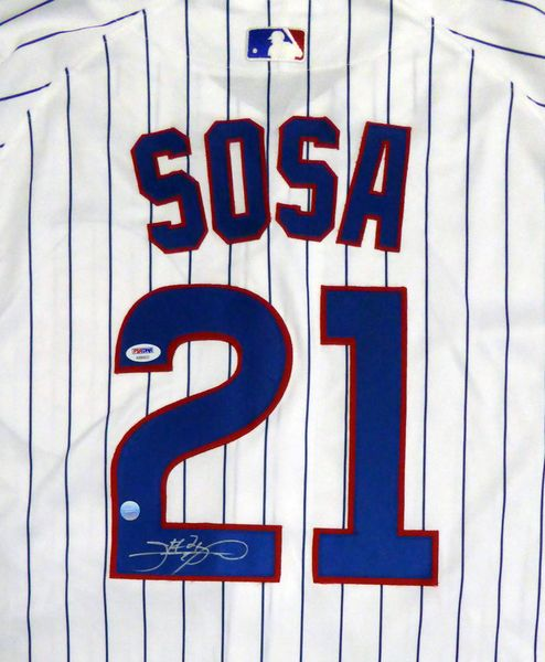 Chicago Cubs Sammy Sosa Autographed Majestic Jersey PSA/DNA