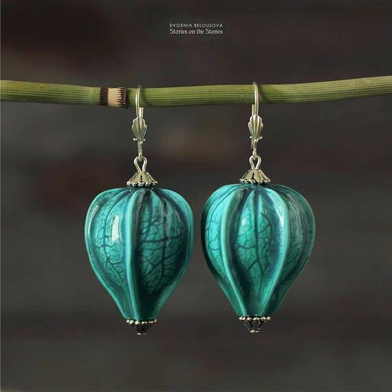 Girlfriend blue jewelry Large earrings for women Wife