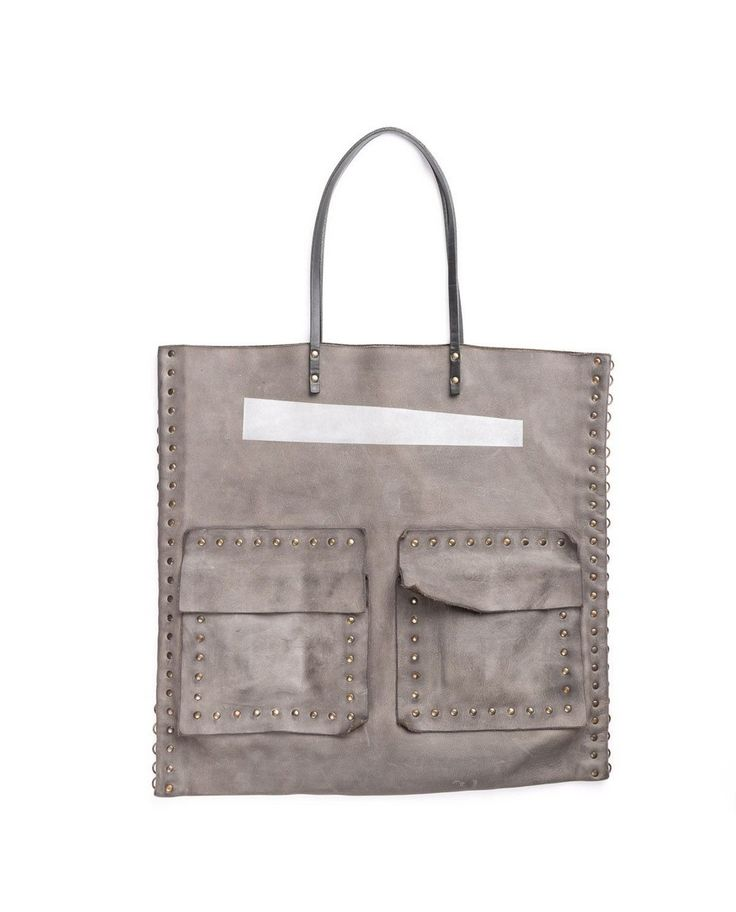 THE LOSER PROJECT Grey shopper 2 patch pockets 45x45 cm 100% Leather