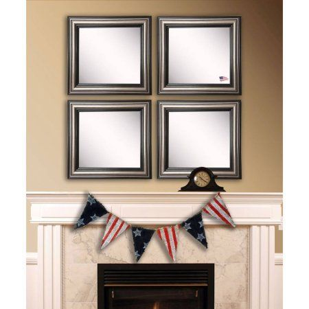 Rayne Country Pine Square Wall Mirror, Set of 4, Brown