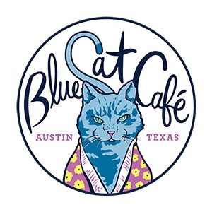 Blue Cat Cafe - 1400 E. Cesar Chavez, Austin, TX. Mon-Thurs 10am-9pm, Fri-Sat 10am-10pm, Sun 11am-7pm. Austin's first and only cat café, dedicated to finding forever homes for the city's stray and homeless felines and to providing a unique experience where cat lovers can cozy up to the furry objects of their affection. Offers 100% vegan food - sandwiches, tacos, hot dogs, coffee drinks, and desserts.