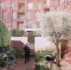 Duggan Morris . HAMPSTEAD GREEN . London (4) serviceflats wzc appartementen gevel structuur ritmiek reflectie textuur baksteen render presentatie volumeschakeling tuin patio planten collage