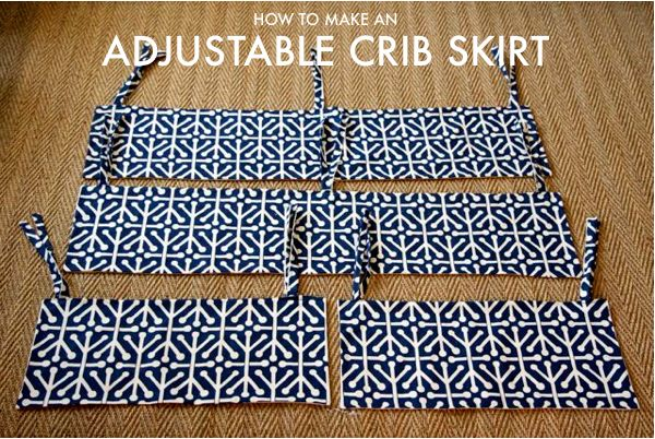 Make an adjustable crib skirt - when you adjust the height of the mattress as the baby grows, you can adjust the skirt as well.