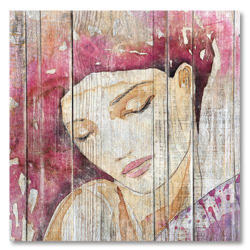 Tableau decoratif cosy portrait femme fushia
