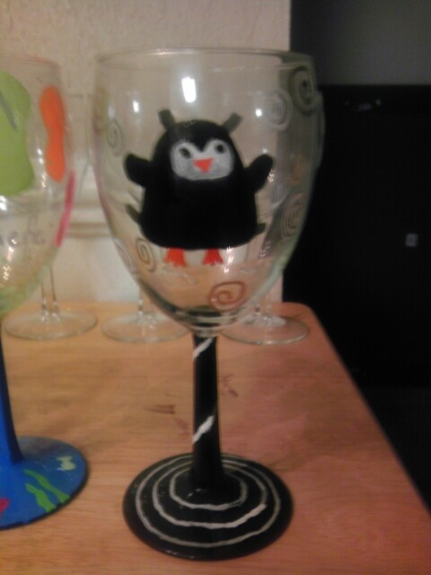 craft ideas for wine glasses penguin wine glass craft smart paint pen no baking 6271