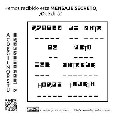 Peque-pasatiempos: Mensaje secreto - PEQUE-PASATIEMPOS nº50
