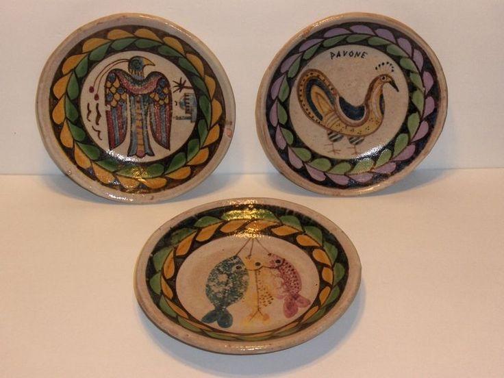 Italian Pottery 8 Plates Tripoli Italia Fish Peacock