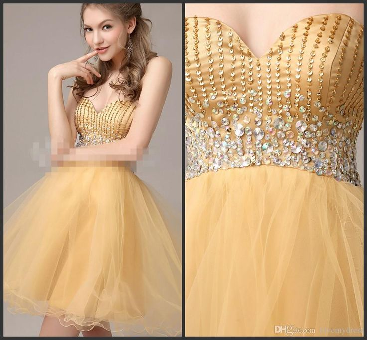 Sparkly Prom Dresses Yellow Dress With Golden Sequins Bling Crystals Cheap Party Gown Mini Homecoming Dress Sweetheart Neck Sleeveless Homecomming Dresses Juniors Formal Dresses From Lovemydress, $80.99| Dhgate.Com