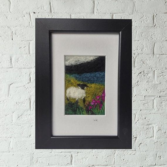 Sheep felted wool wall art Scotland landscape felt painting framed fiber fibre art Scottish 6x4 textile purple heather mountains embroidery