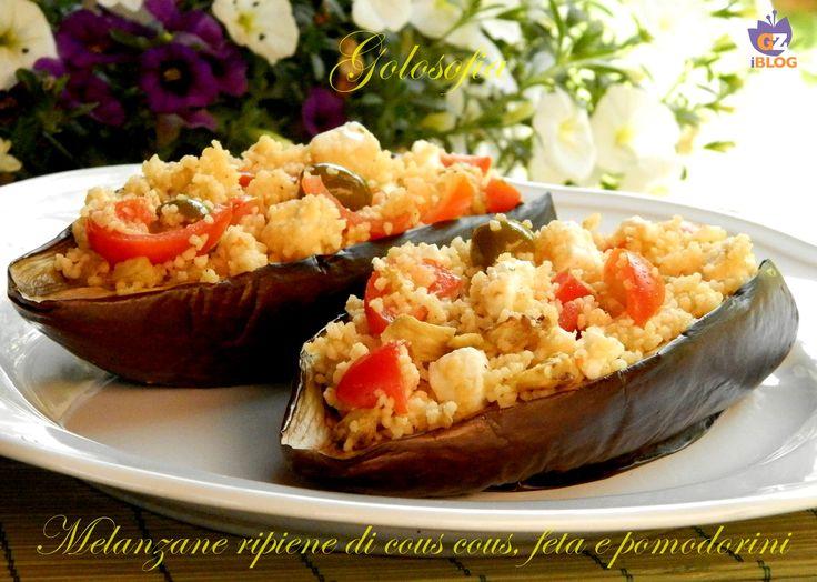 Melanzane ripiene di cous cous, feta e pomodorini! piatto unico molto gustoso e saporito, ideale durante la stagione primaverile.