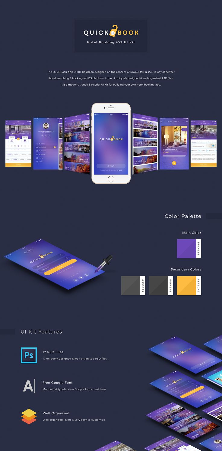 "查看此 @Behance 项目:""QuickBook Hotel Booking iOS UI Kit""https://www.behance.net/gallery/46664421/QuickBook-Hotel-Booking-iOS-UI-Kit"