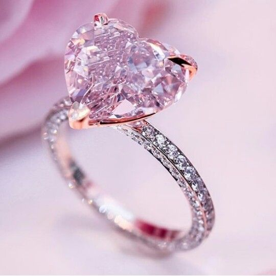 Pink love heart shaped engagement ring