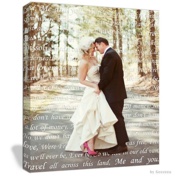 Newlywed Gift First Dance Lyrics Custom Canvas Your Wedding Photo With Vows Love St