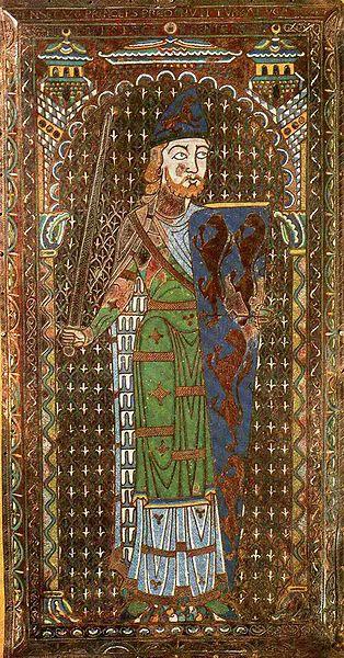 peu après 1153, Effigie funéraire de Geoffrey Plantagenêt, comte du Maine et d´Anjou. Émaux sur cuivre champlevé; La plus grande plaque d´émail du Moyen Age qui soit conservée. Jadis dans la Cathedrale du Mans.Le Mans, Musée Tessé