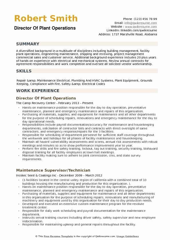 Director Of Facilities Resume Fresh Director Of Plant Operations Resume Samples Good Resume Examples Retail Resume Examples Resume Examples
