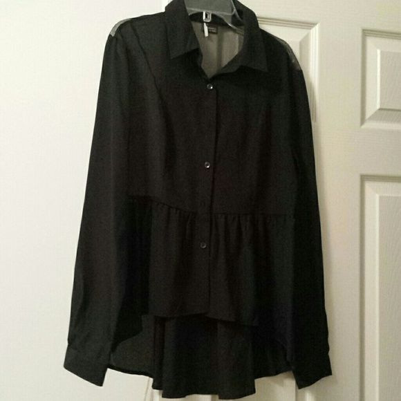 Sparkle & Fade Black button down shirt High/low hem.  Mesh on back.  Polyester.   Long sleeves.   Never worn. Urban Outfitters Tops Button Down Shirts