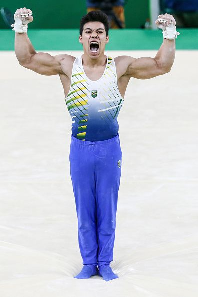 #RIO2016 Sergio Sasaki of Brazil reacts after competing on the horizontal bar during the Men's Individual AllAround final on Day 5 of the Rio 2016 Olympic...