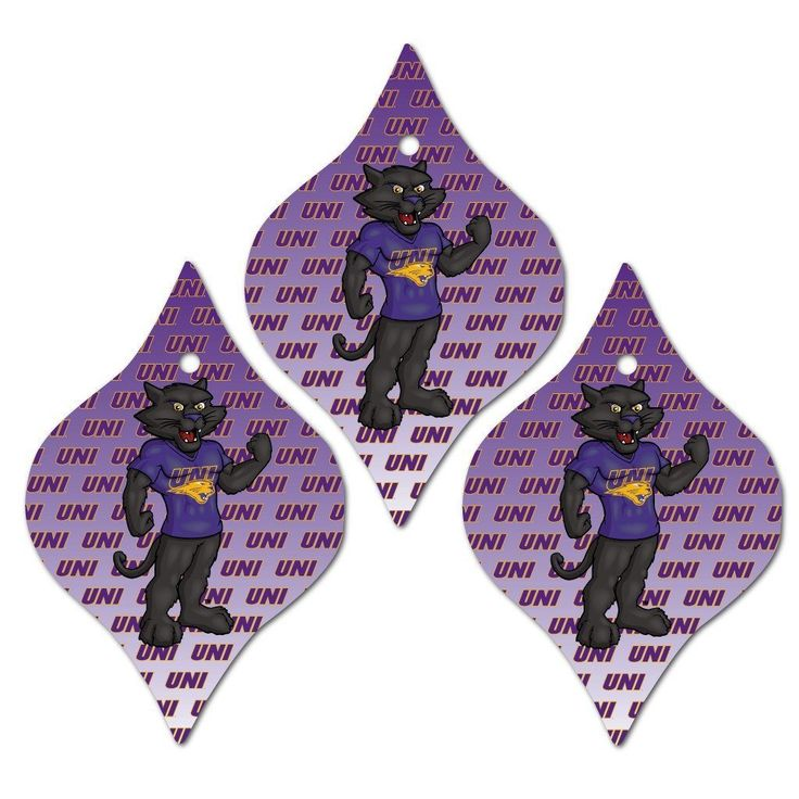 University of Northern Iowa Ornament - Set of 3 Tapered Shapes