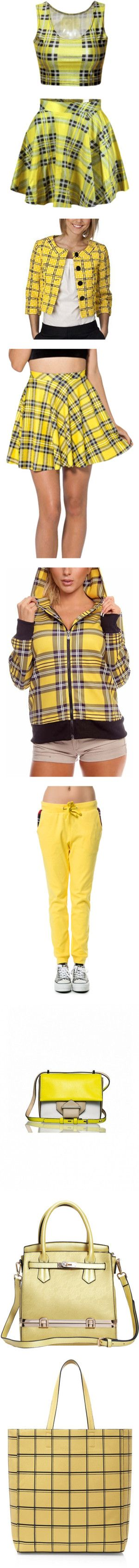 Clueless Yellow Plaid by alypusateri on Polyvore featuring women's fashion, skirts, yellow, vintage pleated skirt, yellow skirt, tartan plaid skirt, yellow tartan skirt, yellow knee length skirt, tops and hoodies