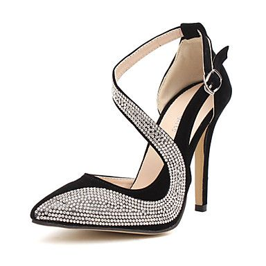 Flocking Women's Stiletto Heel Pointed Toe Pumps With Rhinestone Shoes(More Colors) – USD $ 21.89