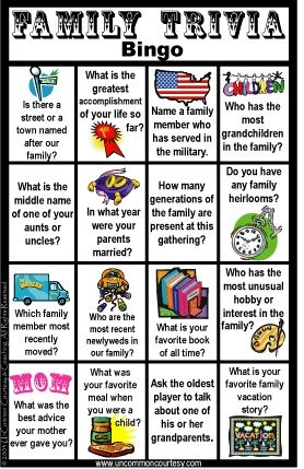fun family reunion games. Love this idea, it lets you find out about your relatives.