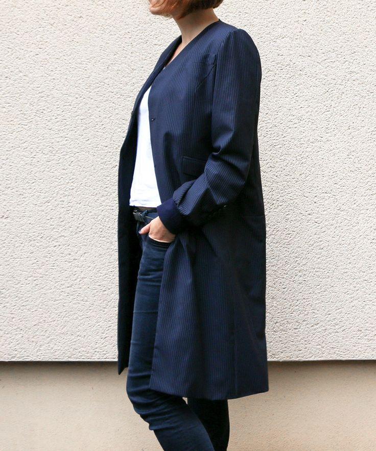 Mantel Refashion aus Nadelstreifen-Anzug