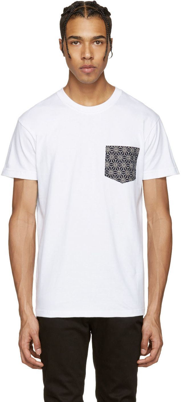 NAKED AND FAMOUS White Geometric Pocket T-Shirt. #nakedandfamous #cloth #t-shirt